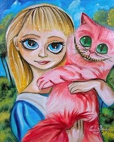 'ALICE IN WONDERLAND CHESHIRE CAT' by gordonbruce. OIL PAINTING