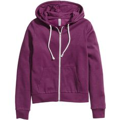 Hooded Sweatshirt Jacket $19.99 ($20) ❤ liked on Polyvore featuring outerwear, jackets, lined jacket, purple jacket, zipper jacket, h&m jackets and zip jacket