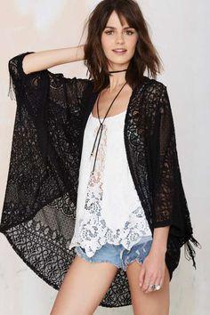 'Round Midnight Crochet Lace Kimono - Clothes