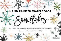 Hand Painted Watercolor Snowflakes @creativework247