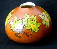 Fall Leaves Bowl Vase by gourdchairman on Etsy, $10.00