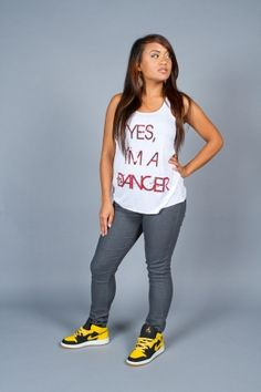 YES I'M A DANCER FLOWY RACERBACK TANK BY TAGLISH TEES   Dance shirt, hip-hop shirt, hip hop shirt, b-boy, bboy, bboy shirt, urban shirt