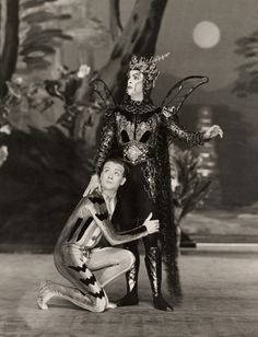 Robert Helpmann and John Mills in A Midsummer Nights Dream by William Shakespeare, Old Vic Theatre, London, England, 1938