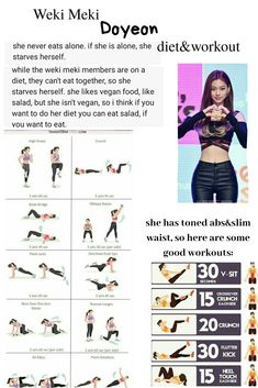 Weki Meki Doyeon KPOP Diet, Workout. #wekimeki #doyeon #kpop #diet #workout #thinspo #slim waist workout, abs workout Kpop Workout, Workout Abs, Fitness Diet, Health Fitness, Korean Diet, Eat Together, Thin Waist, Waist Workout, Summer Body