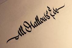 """All Hallows' Eve"". #lettering #handlettering #typography #calligraphy #ParallelPen http://www.behance.net/vetoshkin_igor"