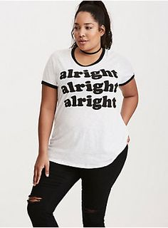 "That's what we love about this tee, man; the more we wear it, the more awesome it gets! The sheer white slub knit would totally catch Wooderson's attention, while the black ringer trim and ""alright alright alright"" quote has us waking up early for Aerosmith tickets.<div><br></div><div><b>Model is 5'10"", size 1<br></b><div><ul><li style=""list-style-position: inside !important; list-style-type: disc !important"">Size 1 measures 28 3/4"" from shoulder</li><li style=""list-style-position: i"