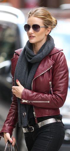 Shop this look on Lookastic: http://lookastic.com/women/looks/sunglasses-scarf-biker-jacket-belt-skinny-jeans/8405 — Dark Brown Sunglasses — Charcoal Knit Scarf — Burgundy Leather Biker Jacket — Silver Leather Belt — Black Skinny Jeans