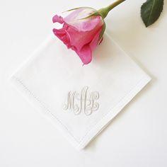 Scroll Monogram Embroidered Handkerchief, Cotton Handkerchief, Personalized Handkerchief,  Bridal Handkerchief, Wedding Handkerchief
