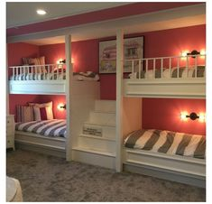 Bunk Bed Rooms, Bunk Beds Built In, Bunk Beds With Stairs, Cool Bunk Beds, Kids Bunk Beds, Best Bunk Beds, Boys Bedroom Ideas With Bunk Beds, Bunkbeds For Small Room, Bedroom Built Ins