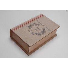 Caja forma libro de madera con 6 compartimentos para bolsitas de té.