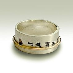 Follow us to http://freecycleusa.com Matte Modern spinner band, Monogram Fidget ring, recycled Silver and gold filled personalized Ring, Organic mix metals wedding band, Xmas Sale
