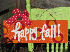 handpainted Happy Fall sign by cottageartshop on Etsy