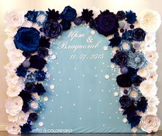 Paper Flower Backdrop by colorevent. size 250 x 300 ((Make it into a heart shape with pink and blue flowers on the inside))