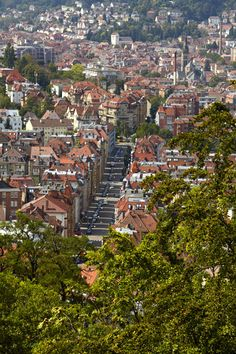Blick von der Karlshöhe auf unsere Stadt im Kessel #Stuttgart. Gleich neben der Parkett Direkt Ausstellung geht es die Treppe hoch. Repinned by www.parkett-direkt.net Best Countries In Europe, Stuttgart Germany, German Girls, Art Academy, Summer Of Love, Austria, Switzerland, Places Ive Been, City Photo