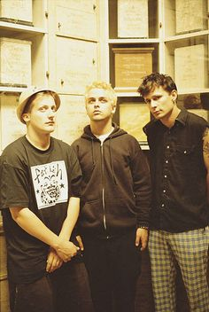 American punk group Green Day San Francisco California July 1995 Left to right drummer Tre Cool singer and guitarist Billie Joe Armstrong and bassist...