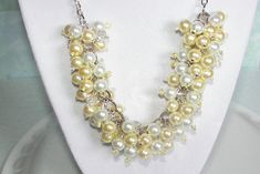 Bridesmaid Necklace Yellow and White Pearl by SeagullSmithJewelry