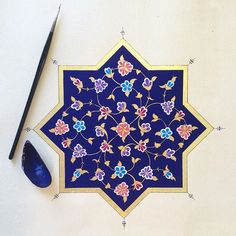 One of my extremely talented students work! Source by Mariaramoul Islamic Art Pattern, Arabic Pattern, Persian Pattern, Pattern Art, Arabic Calligraphy Design, Persian Calligraphy, Calligraphy Letters, Motif Arabesque, Turkish Art
