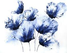 Peinture à l'aquarelle Fleur Floral bleu des œuvres d'Art