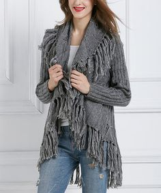 Love this Simply Couture Gray Fringe Open Cardigan by Simply Couture on #zulily! #zulilyfinds