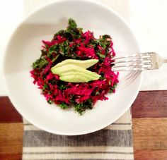 Kale and Beet Slaw Veggie Recipes, Salad Recipes, Kale Slaw, Beets, Risotto, Nom Nom, Side Dishes, Cabbage, Food And Drink