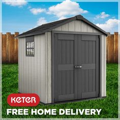 The Oakland is an enhanced Keter Garden Shed, designed to look amazing in your backyard and also endure heavy weather conditions. Back Gardens, Outdoor Gardens, Keter Sheds, Plastic Sheds, Garden Storage Shed, Transom Windows, Roof Structure, Countries Around The World, Double Doors