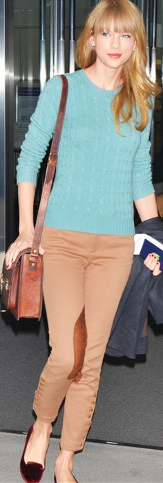 Who made Taylor Swift's red velvet ballet flat shoes, tan pants, and blue cable knit sweater that she wore on November 21, 2012? Sweater and pants – Ralph Lauren  Shoes – French Sole