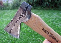 A custom demascus hatchet made by Hults Bruk forging expert and blacksmith Michael 'Cegga' Crgonja.