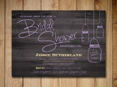 Mason Jar Bridal Shower Invitation - Wedding Shower Invitaiton Template Purple Yellow Rustic Wedding | Country Wedding Shower Printable by PaintTheDayDesigns