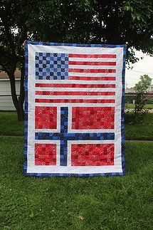 Handmade Quilts and Baby Accessories Postage Stamp Quilt, Postage Stamps, American Flag Quilt, Norwegian Flag, Us Flags, Barn Quilts, Norway, Quilt Patterns, Mosaic
