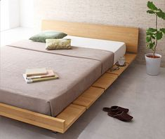 The Amaya Wood Bed Frame is a Japanese themed platform bed with a wonderful match of minimalist design with utility. Headboard is adjustable.(Diy Headboard Queen) #diybedframesqueen
