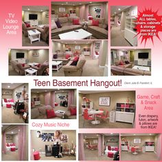 I Created 3 different areas in a Teen Basement. Almost everything except sofas were from IKEA!
