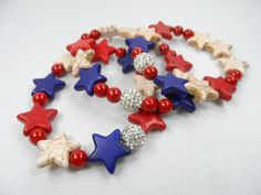 USA 4th of JULY Red White and Blue Star Shaped by LarenDeeDesigns, $15.00
