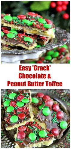Easy Chocolate & Peanut Butter 'Crack' Toffee – Sweet World Ideas Butter Toffee, Chocolate Peanut Butter, Chocolate Recipes, Easy Holiday Recipes, Christmas Recipes, Thanksgiving Recipes, Easy Recipes, Healthy Dessert Recipes, Fun Desserts