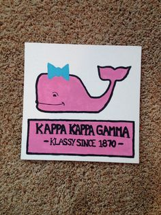 Sorority Craft- Vineyard Vines- Kappa Kappa Gamma Canvas by FunSororityCrafts on Etsy Phi Sigma Sigma, Kappa Kappa Gamma, Alpha Omicron Pi, Alpha Sigma Alpha, Sorority Canvas, Sorority Life, Greek Crafts, Owl, Sorority Crafts