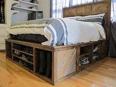 Platform beds that pack storage drawers can banish the need for a dresser.: Pallet Platform Bed Built for Shoe Storage