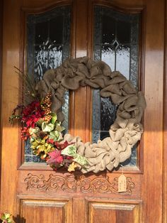 Burlap any time of year wreath. Handmade. For sale.
