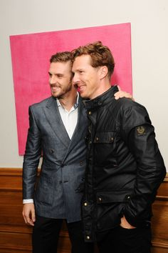 LONDON, ENGLAND - SEPTEMBER 01: Dan Stevens and Benedict Cumberbatch attends a Gala Screening of 'The Guest' at Soho Hotel on September 1, 2014 in London, England
