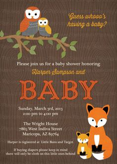 woodland baby shower invitations with owls and fox,  wood grain  Digital, Printable file. $13.00, via Etsy.