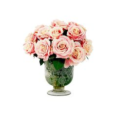 """16"""" Roses in Vase - Faux Arrangements ($169) ❤ liked on Polyvore featuring home, home decor, floral decor, decorative accessories, flower stem, pink rose bouquet, flower bouquet and floral arrangement"""