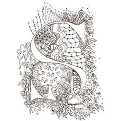 Monogram, Initial, Colour-Me-In Illuminated Letters - S, original art  drawings by melanie j cook