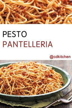 Made with spaghetti, salt, olive oil, capers, tomatoes, parmigiano cheese, basil, almonds | CDKitchen.com