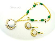 Antique Vintage Art Deco Czech Glass Necklace Pendant Celtic Cross GREEN GOLD #Unbranded #Pendant Glass Necklace, Beaded Necklace, Beaded Bracelets, Pendant Necklace, Celtic, Deco, Czech Glass, Green And Gold, Vintage Art