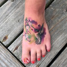 hummingbird foot tattoo #ink #youqueen #girly #tattoos