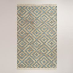 5'x8' Blue Diamond Natural Flat-Woven Wool Rug traditional-rugs