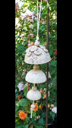 & a sweet wind chime for your terrace or the garden & a nice look & & # Ceramics Projects, Clay Projects, Ceramic Wall Art, Ceramic Pottery, Pottery Handbuilding, Pottery Animals, Hand Built Pottery, Happy Art, Pottery Designs