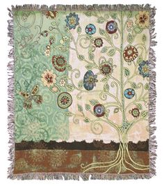 Gypsy Garden tapestry throw features a bohemian take on a garden tree, colorful and unique. Bohemian style decorating is all about living simply and expressing one's creativity throughout the design.