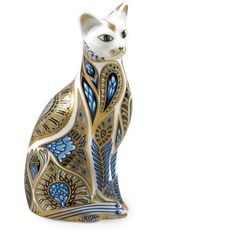 Royal Crown Derby Siamese Blue Cat Paperweight (305 CAD) ❤ liked on Polyvore featuring home, home decor, office accessories, royal crown derby, gold office accessories, cat figure, royal crown derby figurines and cat paperweight