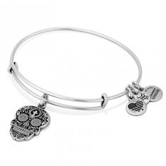 Alex and Ani Calaveras charm bangle bracelet. I don't think this is a particularly attractive design; I think they're just cashing in on the popularity of sugar skulls.
