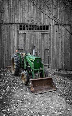 old John Deere tractor with front end loader Front Loader Training www.scissorlift.training