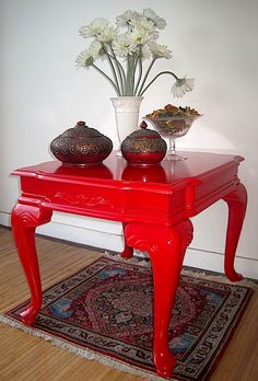 """Side Table - it's red!  www.portaverdestudio.com"" #upcycled Upcycled design inspirations"